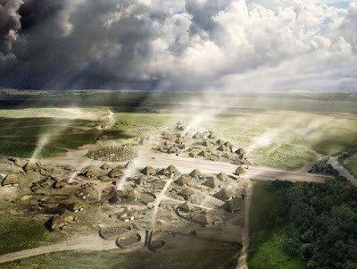 English Heritage reconstruction drawing of how the prehistoric village of Durrington Walls might have looked